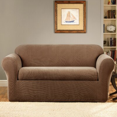 Stretch Metro Box Cushion Sofa Slipcover Upholstery: Brown