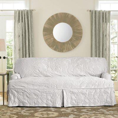 Matelasse Damask Box Cushion Sofa Slipcover Upholstery: White