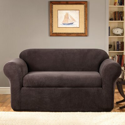 Stretch Metro Box Cushion Sofa Slipcover Upholstery: Espresso