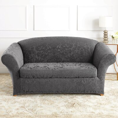 Stretch Jacquard Damask Loveseat Slipcover Upholstery: Gray