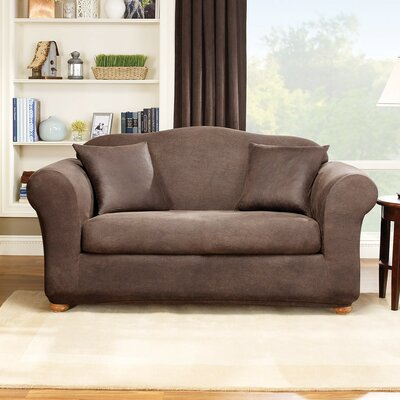 Stretch Leather Box Cushion Sofa Slipcover Upholstery: Brown