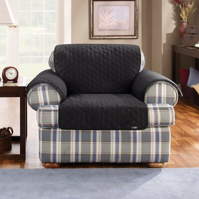 T-Cushion Armchair Slipcover Upholstery: Black