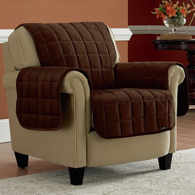 Deluxe Box Cushion Armchair Slipcover Upholstery: Chocolate