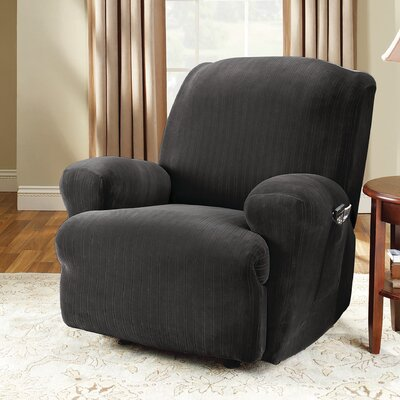 Stretch Pinstripe T-Cushion Recliner Slipcover Upholstery: Black