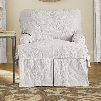 Matelasse Damask Armchair Slipcover Upholstery: White