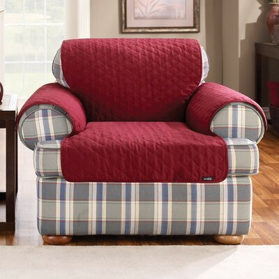 Cotton Duck Armchair Slipcover Upholstery: Claret