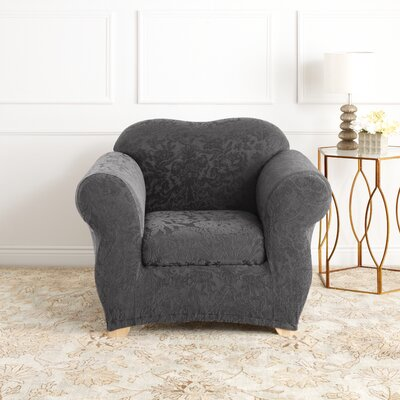 Stretch Jacquard Damask Armchair Slipcover Upholstery: Gray