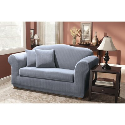 Stretch Pinstripe Box Cushion Loveseat Slipcover Upholstery: French Blue