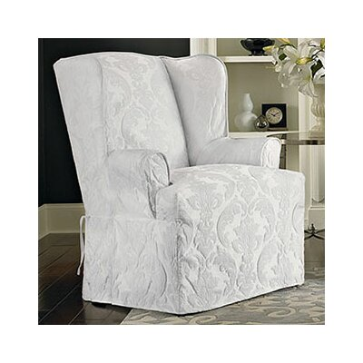 Matelasse Damask Wing Chair Slipcover