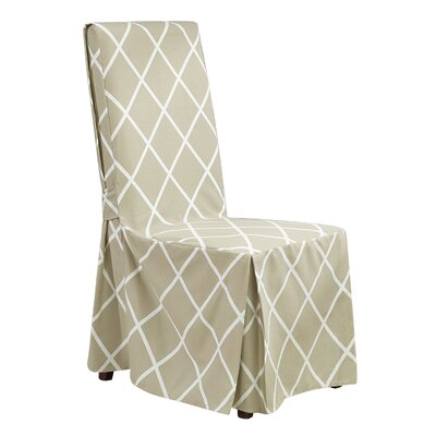 Lattice Parson Chair Skirted Slipcover Color: Tan