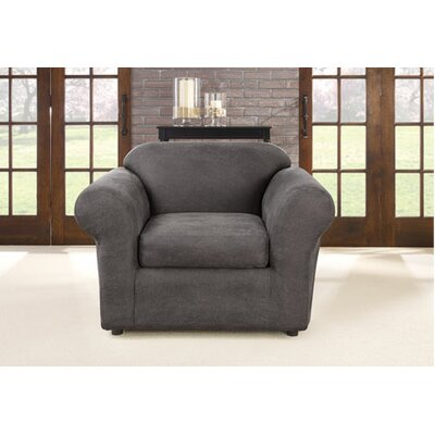 Ultimate Stretch Faux Leather Slipcover Upholstery: Antiqued Slate