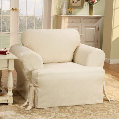 Cotton Duck Armchair T-Cushion Slipcover Upholstery: Natural