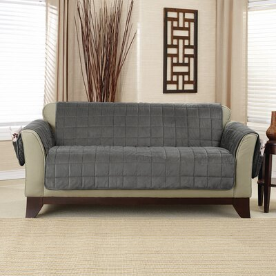 Loveseat T-Cushion Slipcover Upholstery: Carbon