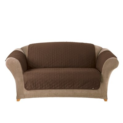 Furniture Friend Box Cushion Loveseat Slipcover Color: Warm Chocolate