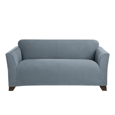 Stretch Morgan Box Cushion Loveseat Slipcover Color: Storm Blue