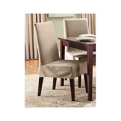Cotton Duck Shorty Dining Chair Slipcover Upholstery: Linen