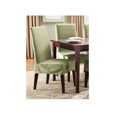 Cotton Duck Shorty Dining Chair Slipcover Upholstery: Sage