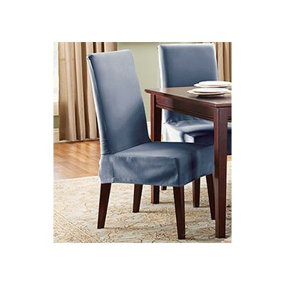 Cotton Duck Shorty Dining Chair Slipcover Upholstery: Bluestone