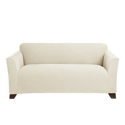 Stretch Morgan Box Cushion Loveseat Slipcover Color: Ivory