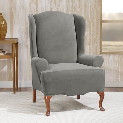 Stretch Morgan Wingchair T-Cushion Skirted Slipcover Color: Gray