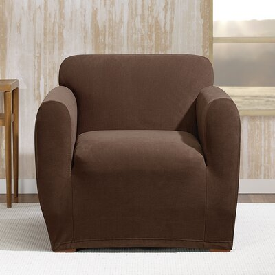 Stretch Morgan Box Cushion Armchair Slipcover Color: Chocolate