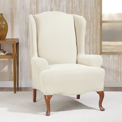 Stretch Morgan T-Cushion Wingback Slipcover Color: Ivory
