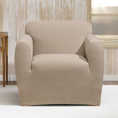 Stretch Morgan Box Cushion Armchair Slipcover Color: Khaki