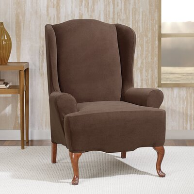 Stretch Morgan Wingchair T-Cushion Skirted Slipcover Color: Chocolate