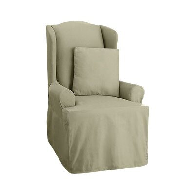 Cotton Duck Wing Chair T-Cushion Slipcover Upholstery: Sage