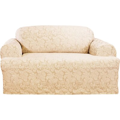 Scroll Classic Sofa T Cushion Skirted Slipcover Upholstery: Champagne