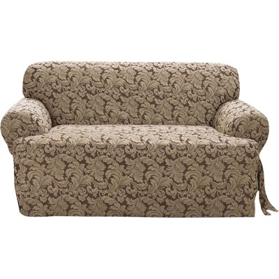 Scroll Classic Sofa T Cushion Skirted Slipcover Upholstery: Brown