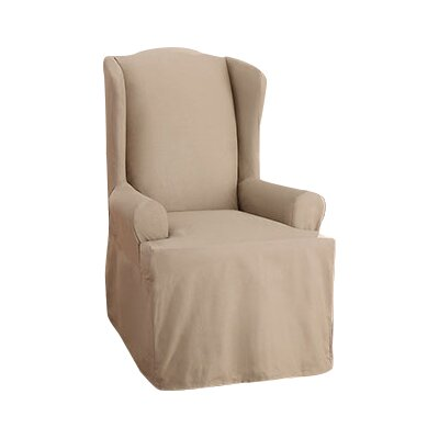 Cotton Duck Wing Chair T-Cushion Slipcover Upholstery: Linen