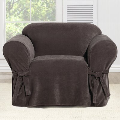 Everyday Chenille Box Cushion Armchair Slipcover Color: Chocolate