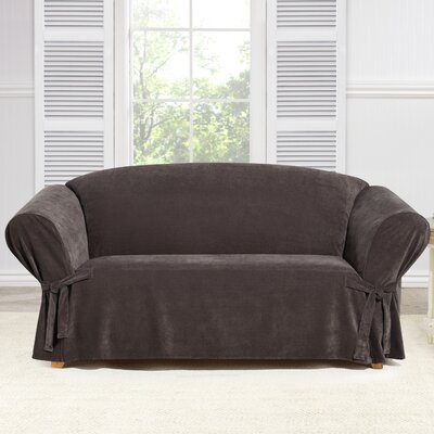 Everyday Chenille Box Cushion Loveseat Slipcover Color: Chocolate