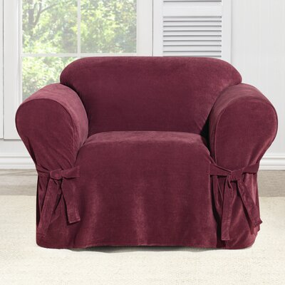 Everyday Chenille Armchair Skirted Slipcover Color: Garnet