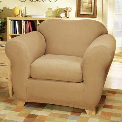 Stretch Suede Box Cushion Armchair Slipcover Color: Camel