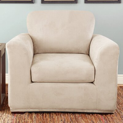 Stretch Suede Box Cushion Armchair Slipcover Color: Taupe