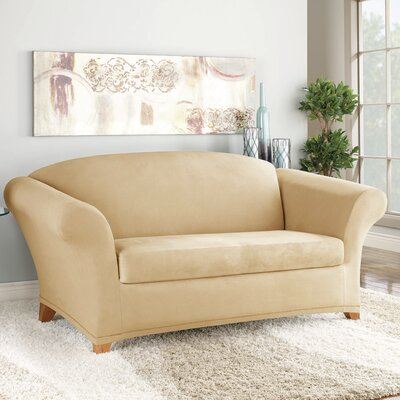 Soft Suede T-Cushion Loveseat Slipcover Color: Camel
