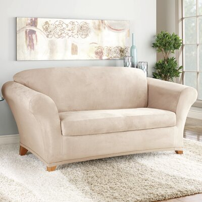 Stretch Suede Polyester Loveseat Slipcover Color: Taupe