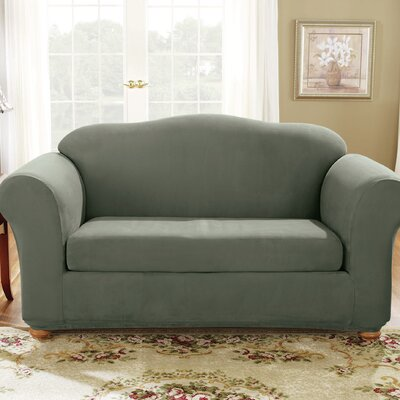 Soft Suede T-Cushion Loveseat Slipcover Color: Dark Green