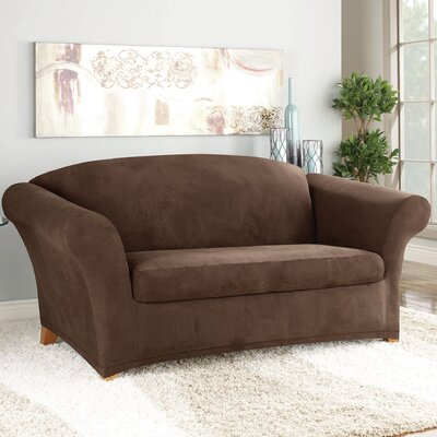 Stretch Suede Polyester Loveseat Slipcover Color: Chocolate