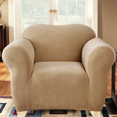 Stretch Pearson Polyester Armchair Slipcover Color: Dark Flax