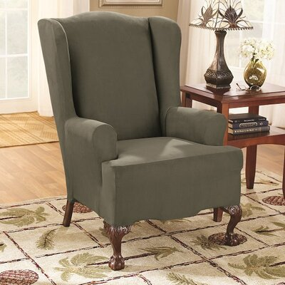 T-Cushion Wingback Slipcover Color: Dark Green