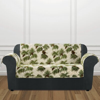 Lodge Pinecone Box Cushion Loveseat Slipcover Color: Ivory