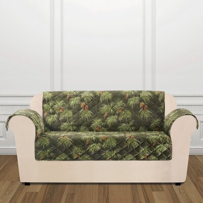 Lodge Pinecone Loveseat Slipcover Color: Evergreen