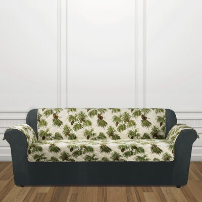 Lodge Pinecone Box Cushion Sofa Slipcover Color: Ivory