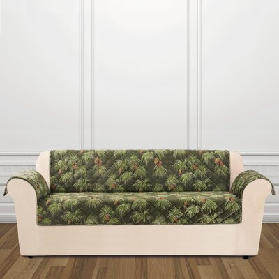 Lodge Pinecone Box Cushion Sofa Slipcover Color: Evergreen