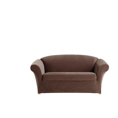 Stretch Corduroy Box Cushion Loveseat Slipcover Color: Oar