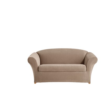 Stretch Corduroy Box Cushion Loveseat Slipcover Color: Beach House Tan