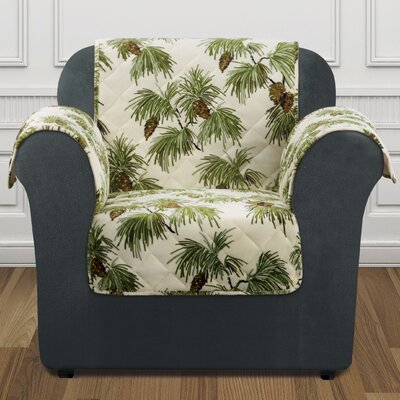 Lodge Pinecone Armchair Slipcover Color: Ivory